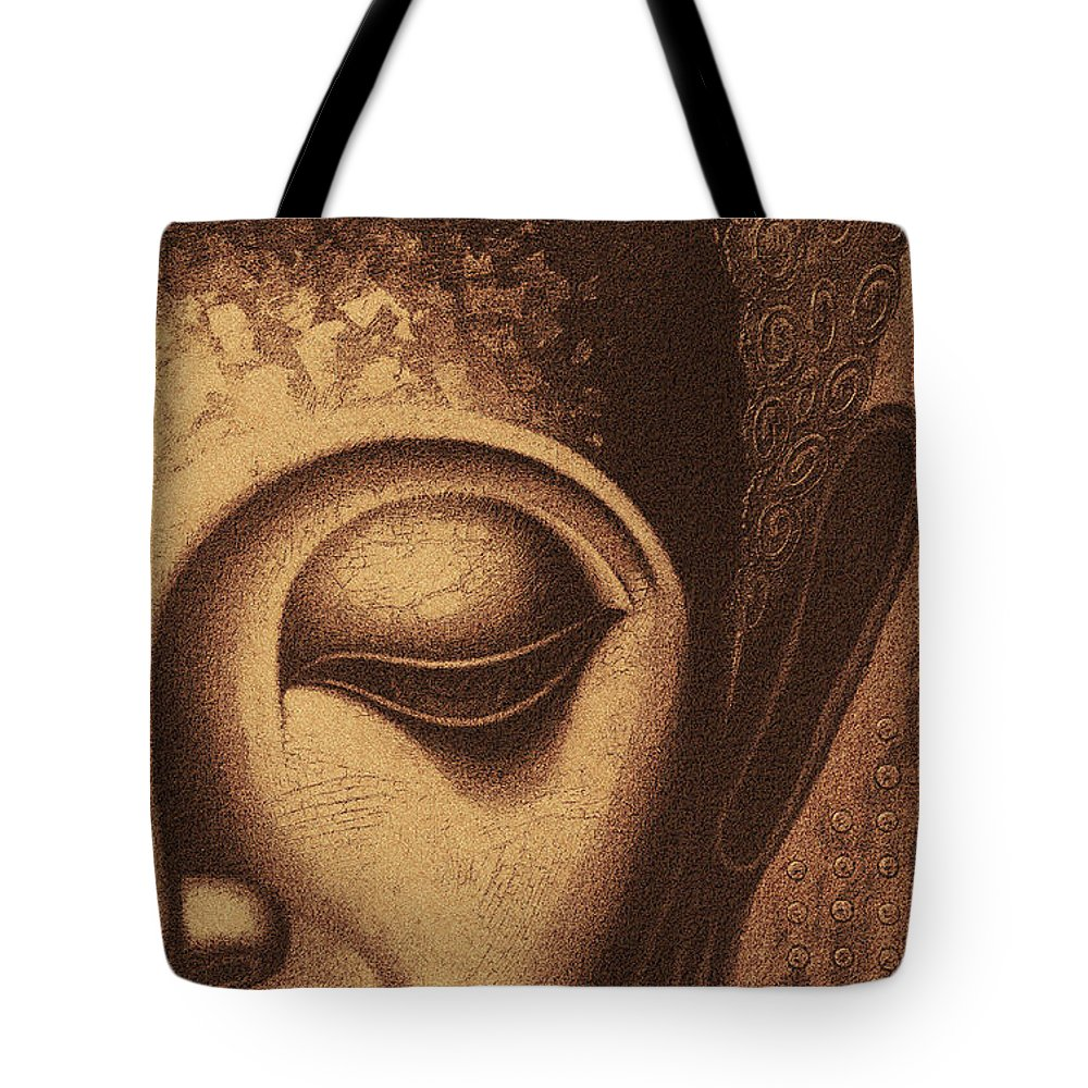 Face Tote Bag featuring the digital art Sepia Chalk 1 by David Lange