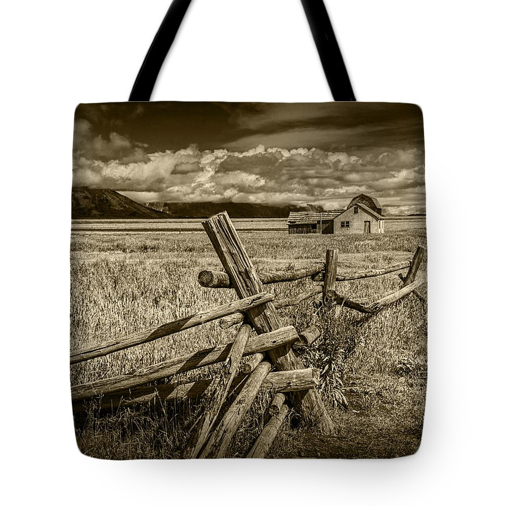 Wood Tote Bag featuring the photograph Sepia Colored Photo Of A Wood Fence By The John Moulton Farm by Randall Nyhof