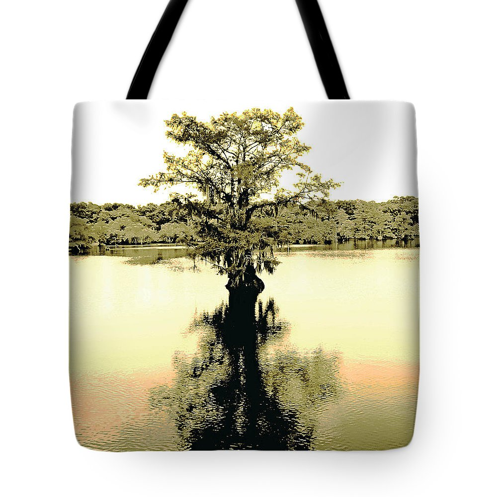 Cypress Tote Bag featuring the digital art Sepia Cypress Chicot Sp Louisiana by Lizi Beard-Ward