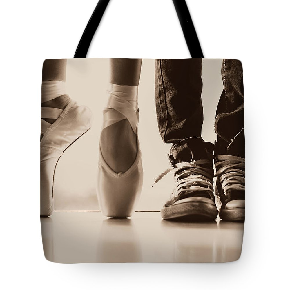 Dance Tote Bag featuring the photograph Sepia Duet by Laura Fasulo