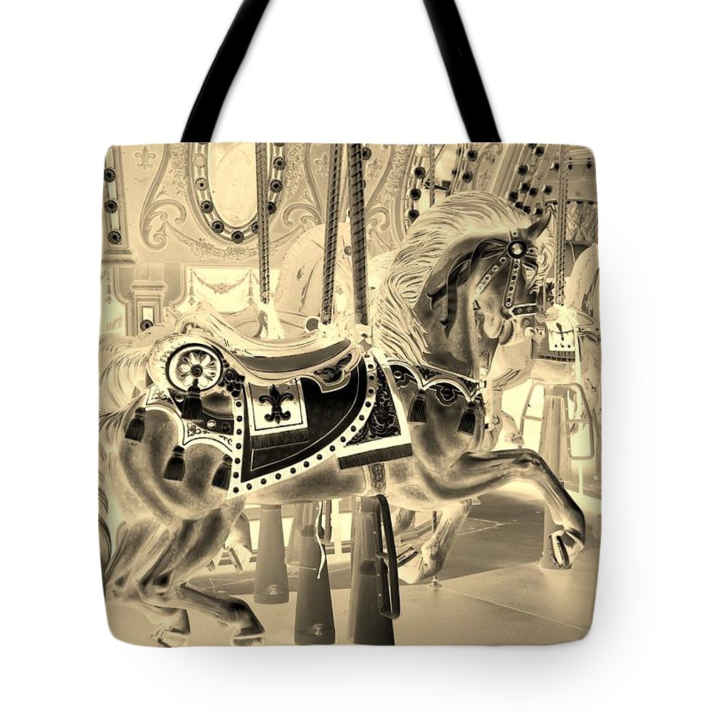 Carousel Tote Bag featuring the photograph Sepia Horse by Rob Hans