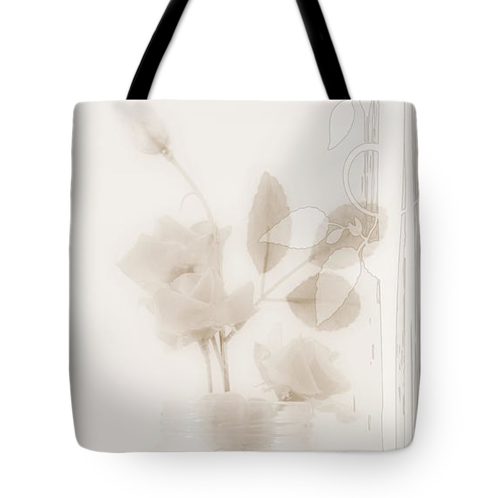 Sympathy Tote Bag featuring the photograph Sepia Roses With Sympathy Card by Sandra Foster