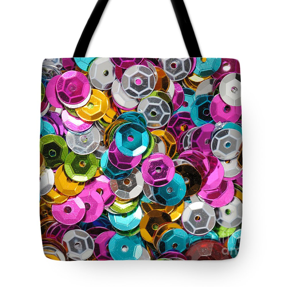 Sequin Tote Bag featuring the photograph Sequins Abstract by Grigorios Moraitis