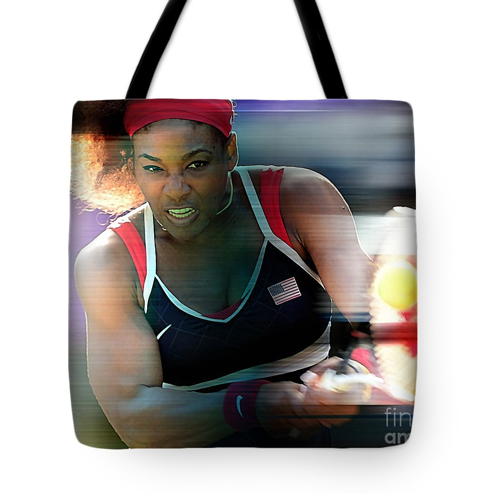 Serena Williams Drawings Mixed Media Tote Bag featuring the mixed media Serena Williams by Marvin Blaine
