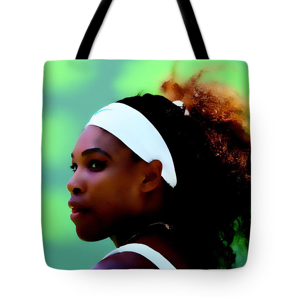 Serena Williams Tote Bag featuring the digital art Serena Williams Match Point by Brian Reaves