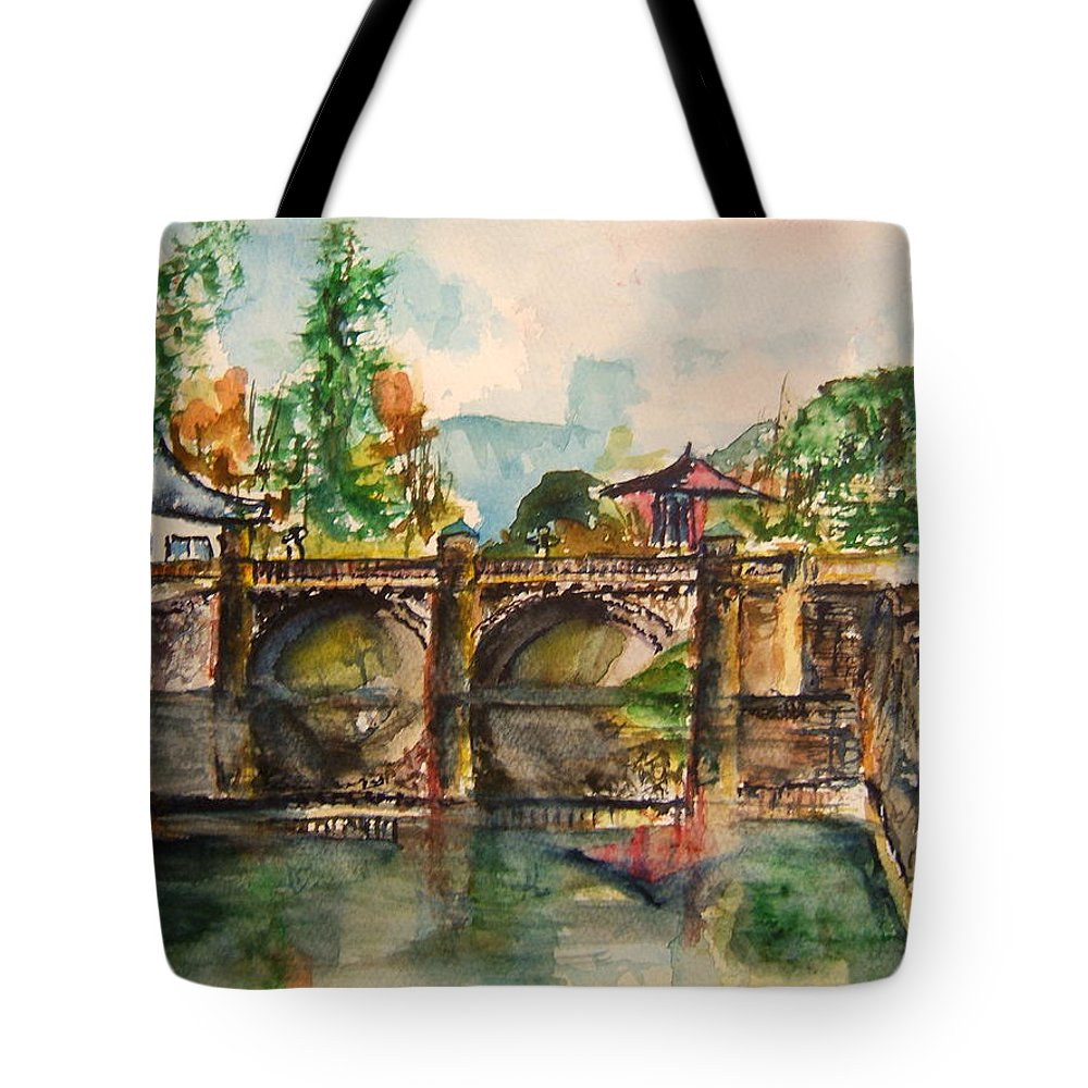 Japan Tote Bag featuring the painting Serene Walkway by Elaine Duras