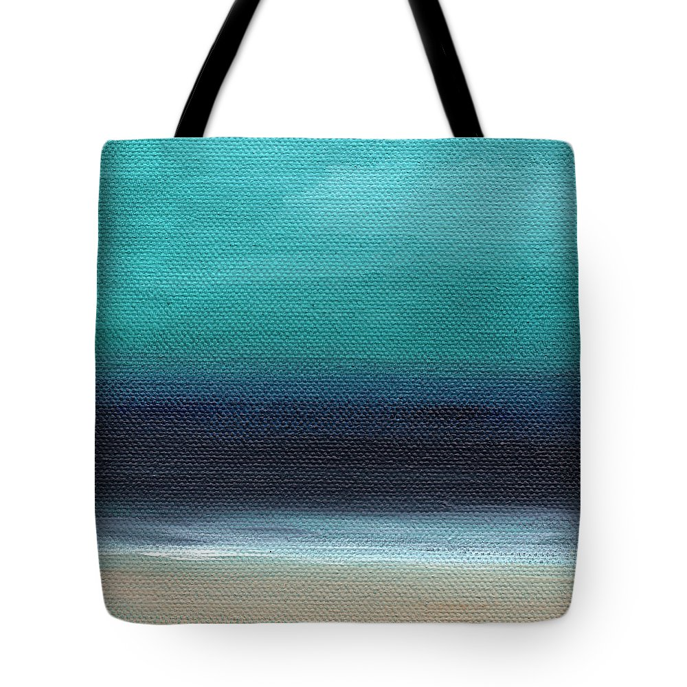 Beach Tote Bag featuring the painting Serenity- Abstract Landscape by Linda Woods