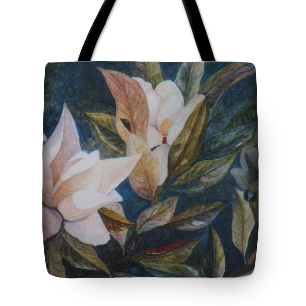 Magnolias; Humming Bird Tote Bag featuring the painting Serenity by Ben Kiger