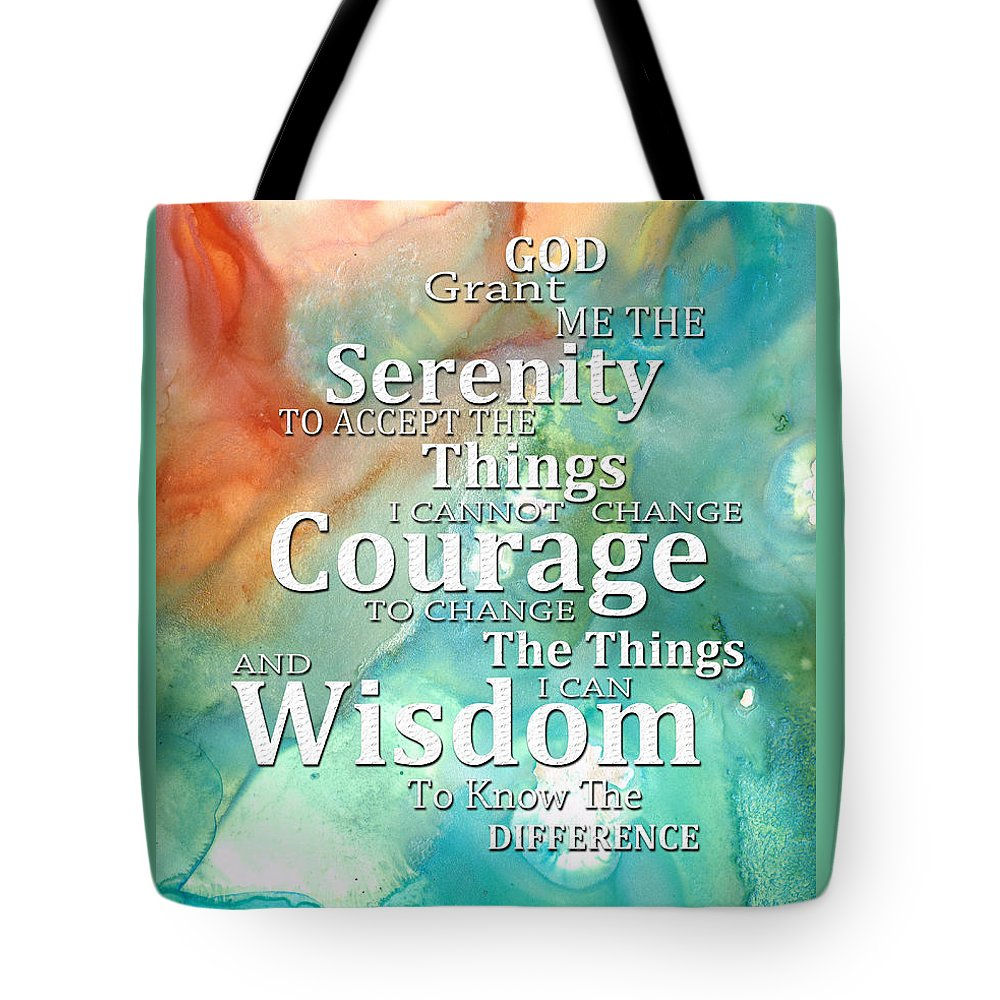 Serenity Prayer Tote Bag featuring the painting Serenity Prayer 1 - By Sharon Cummings by Sharon Cummings