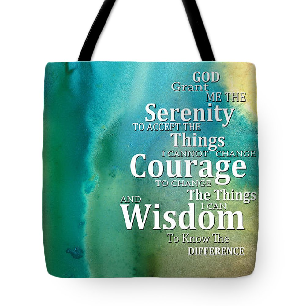 Serenity Prayer Tote Bag featuring the painting Serenity Prayer 2 - By Sharon Cummings by Sharon Cummings