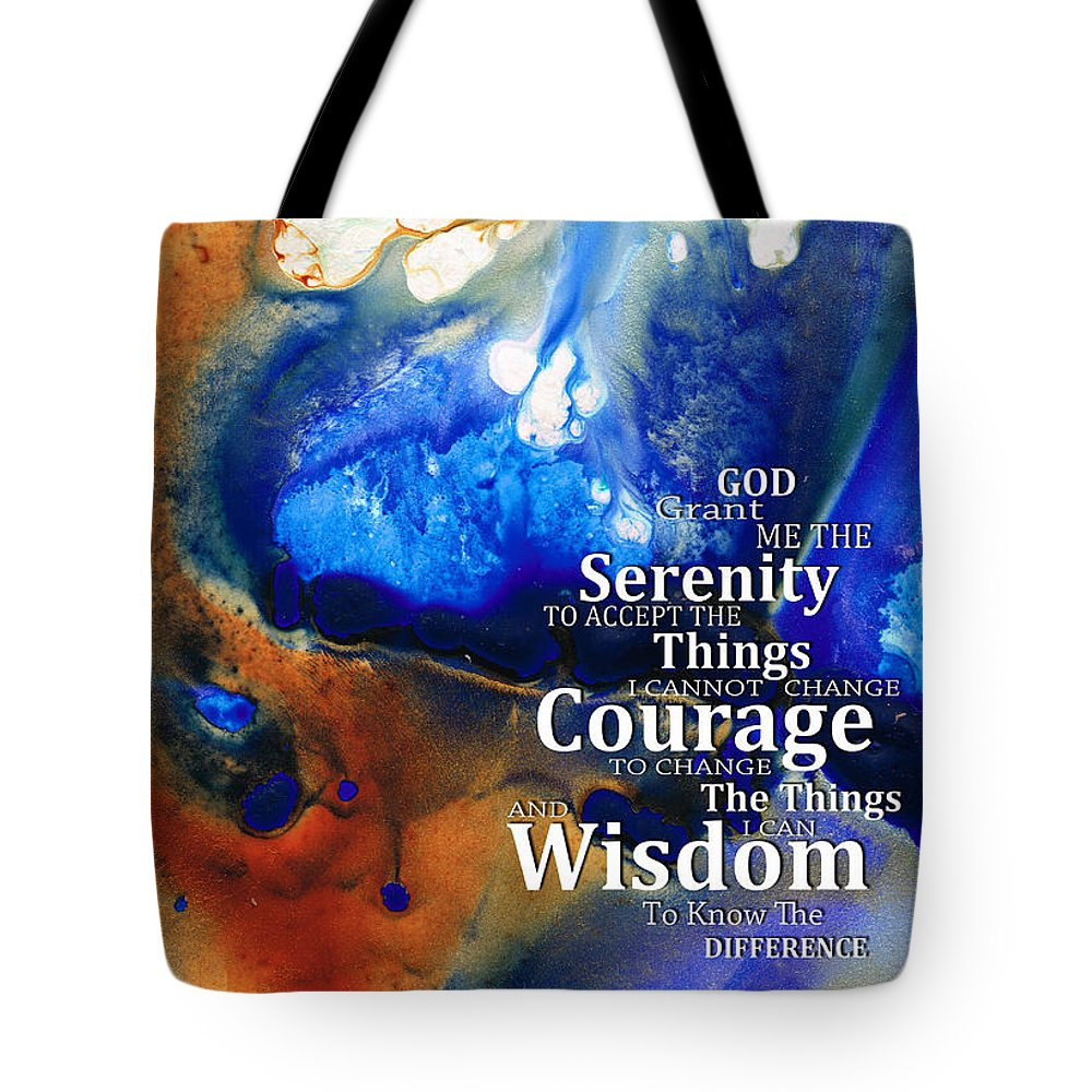 Serenity Prayer Tote Bag featuring the painting Serenity Prayer 4 - By Sharon Cummings by Sharon Cummings