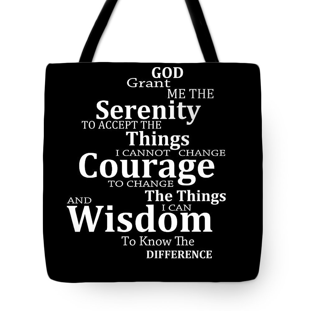 Serenity Prayer Tote Bag featuring the painting Serenity Prayer 5 - Simple  Black And White by 4ba44bfe04184