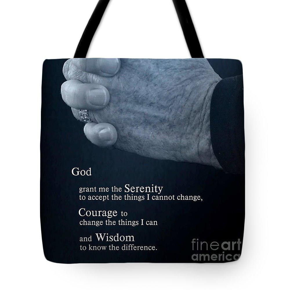 Serenity Prayer Tote Bag featuring the photograph Serenity Prayer Finding Peace by Ella Kaye Dickey