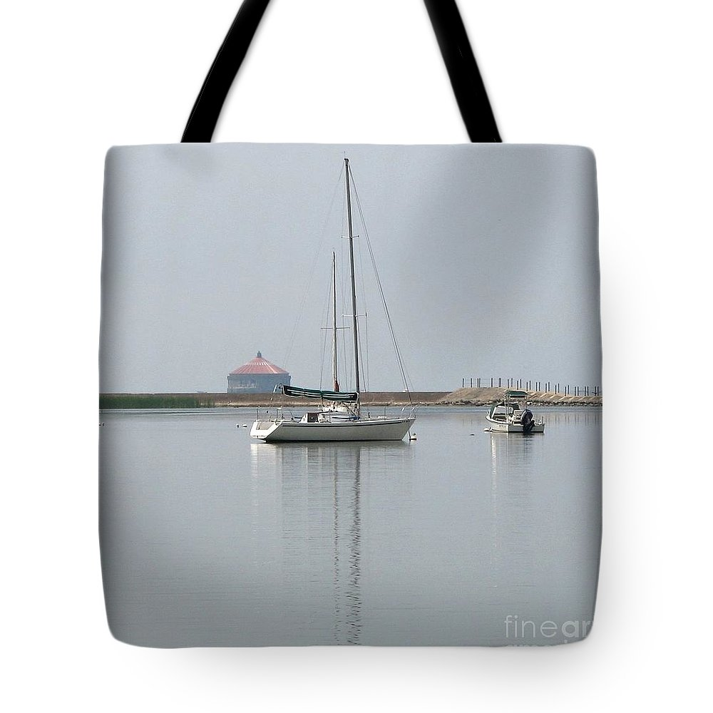 Sailboat Tote Bag featuring the photograph Serenity Sailboat In Buffalo New York Harbor by Rose Santuci-Sofranko