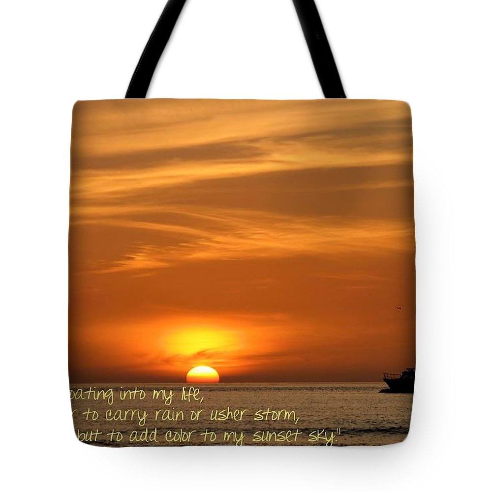 Clouds Tote Bag featuring the photograph Serenity Sunset by Peggy Hughes