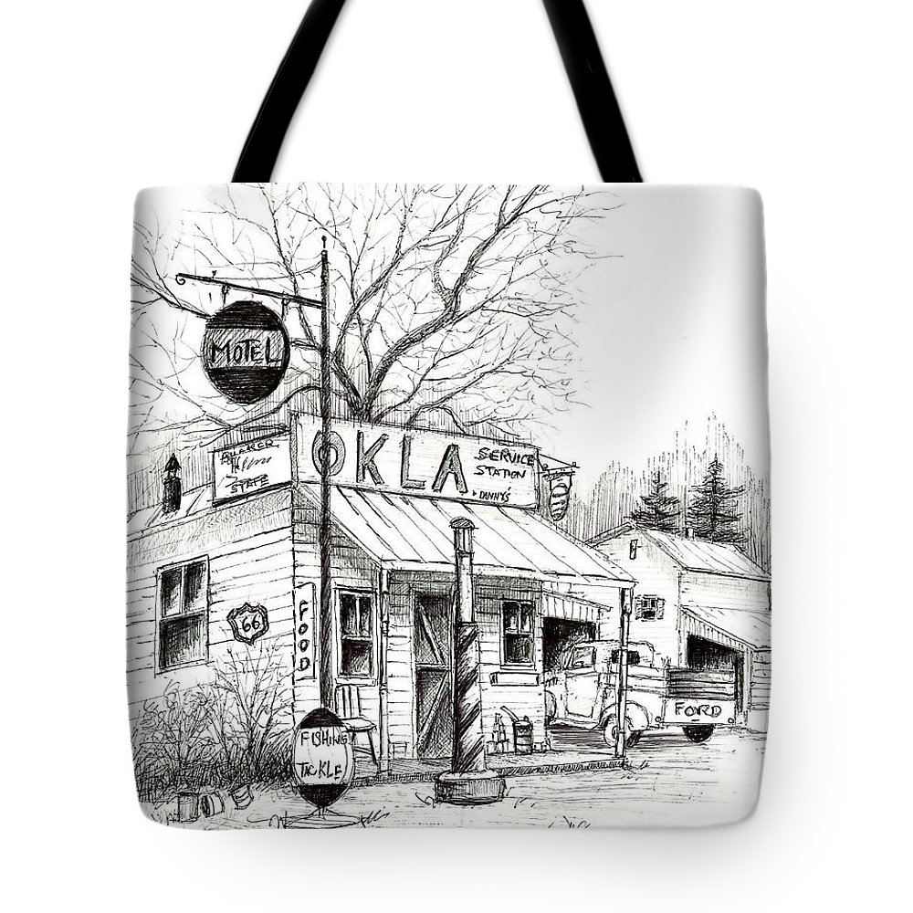 Pen & Ink Tote Bag featuring the painting Service Station by Steven Schultz