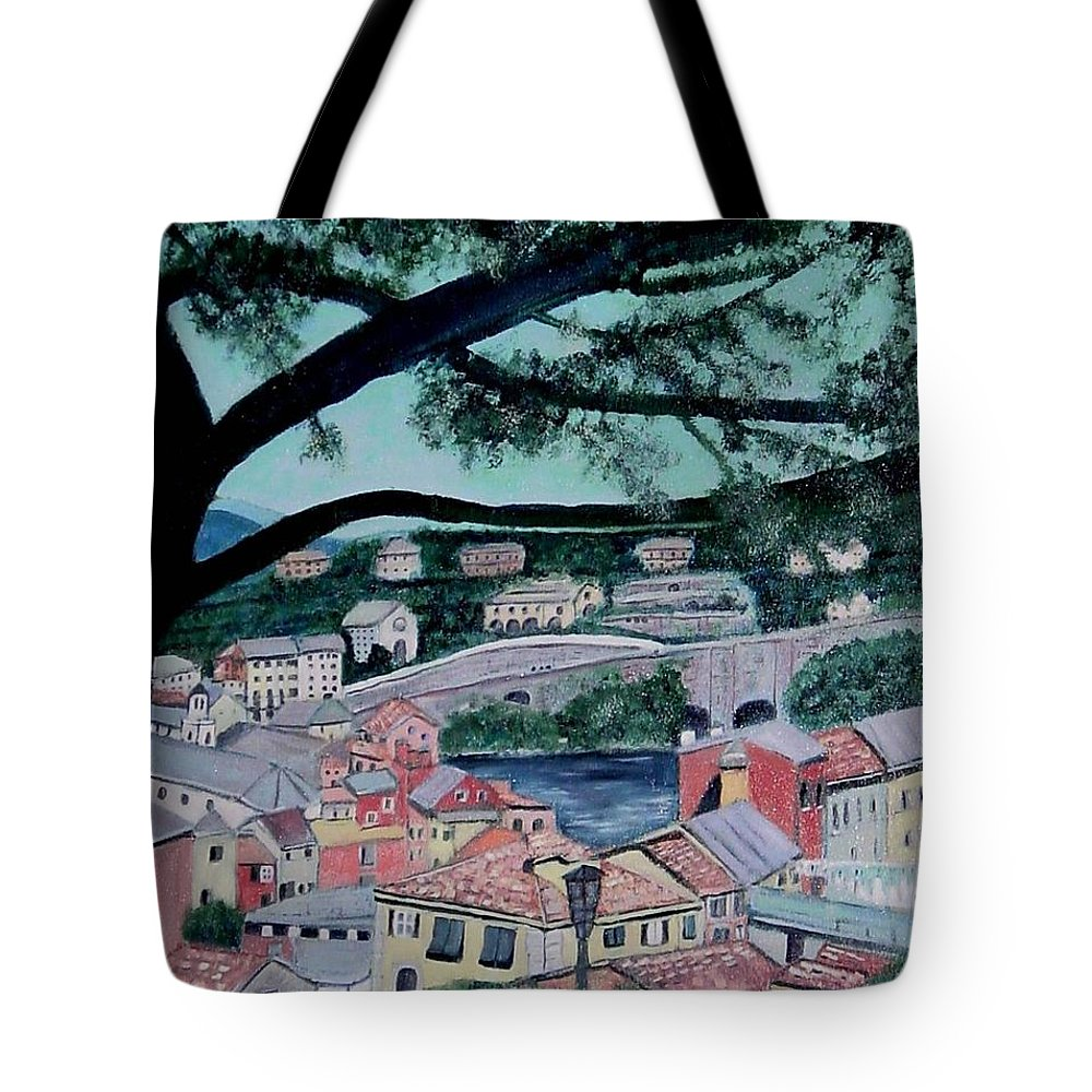 Italy Tote Bag featuring the painting Sestri Levante by Laurie Morgan