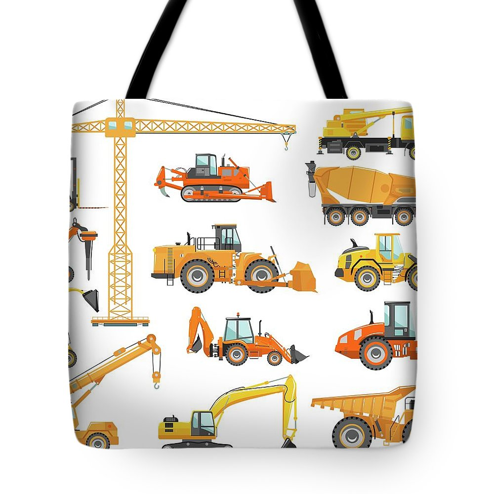 Hydraulic Platform Tote Bag featuring the digital art Set Of Detailed Heavy Construction And by Alexyustus