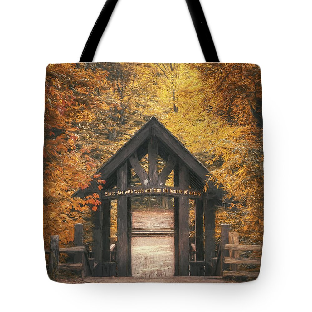 Forest Tote Bag featuring the photograph Seven Bridges Trail Head by Scott Norris