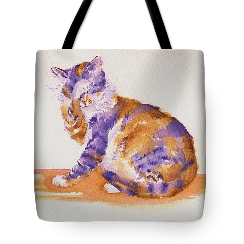 Cats Tote Bag featuring the painting Seven Plus Four Is...? by Debra Hall