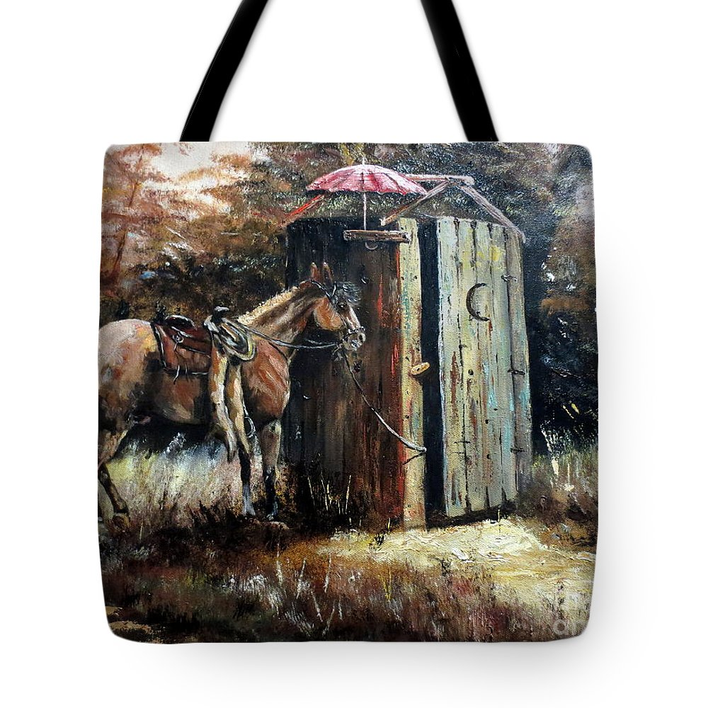 Field Tote Bag featuring the painting Shade For My Horse by Lee Piper