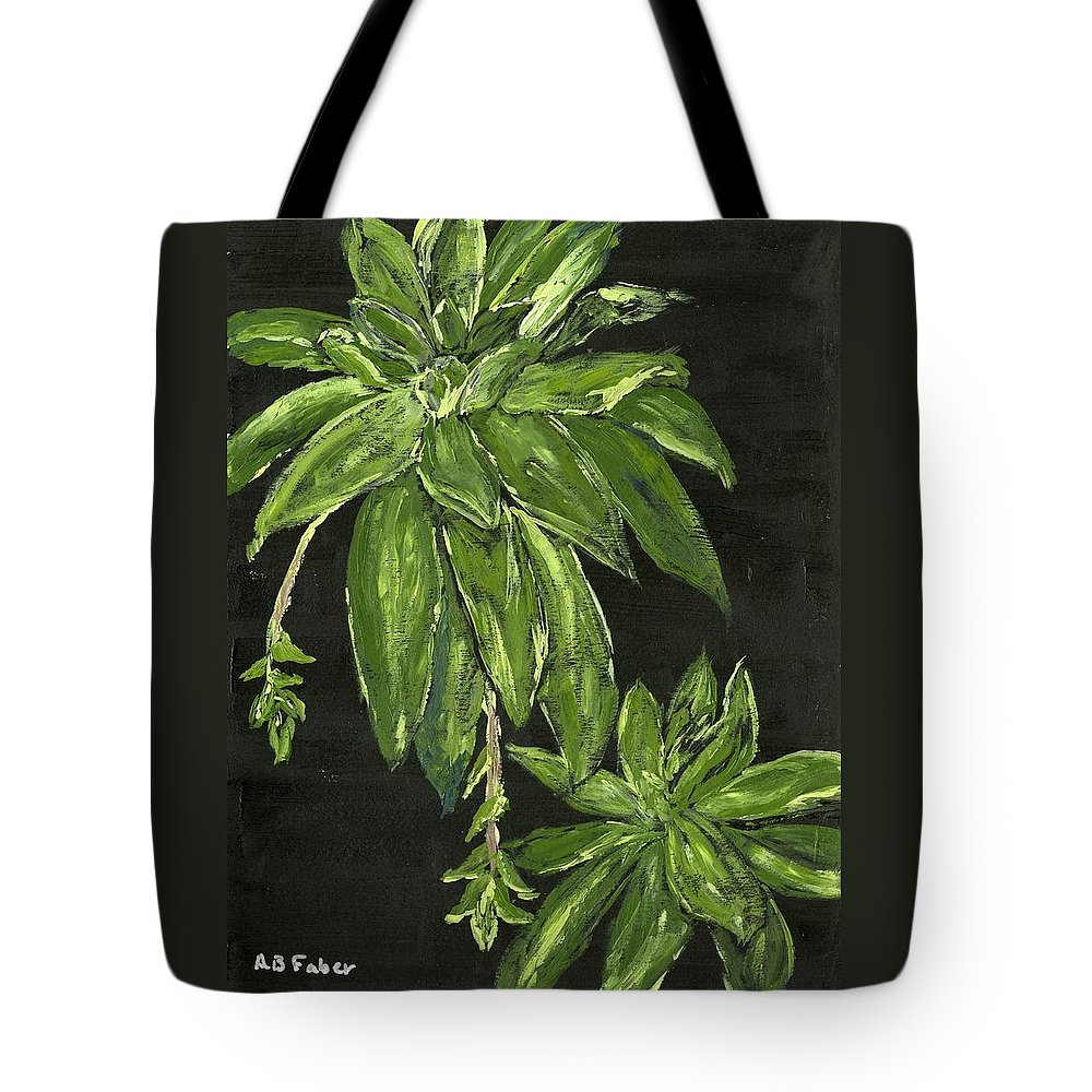 Plant Tote Bag featuring the painting Shades Of Green by Alice Faber