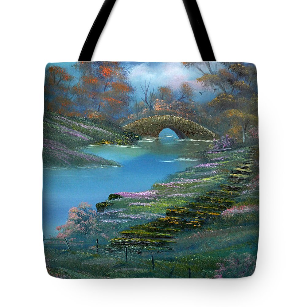 Landscape Tote Bag featuring the painting Shades Of The Orient. by Cynthia Adams