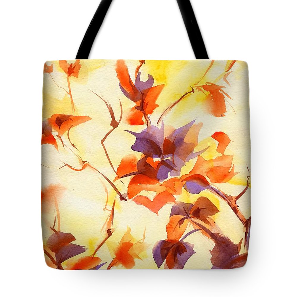 Landscape Tote Bag featuring the painting Shadow Leaves by Summer Celeste