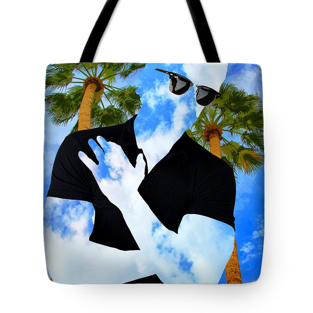 Man Tote Bag featuring the photograph Shadow Man Palm Springs by William Dey
