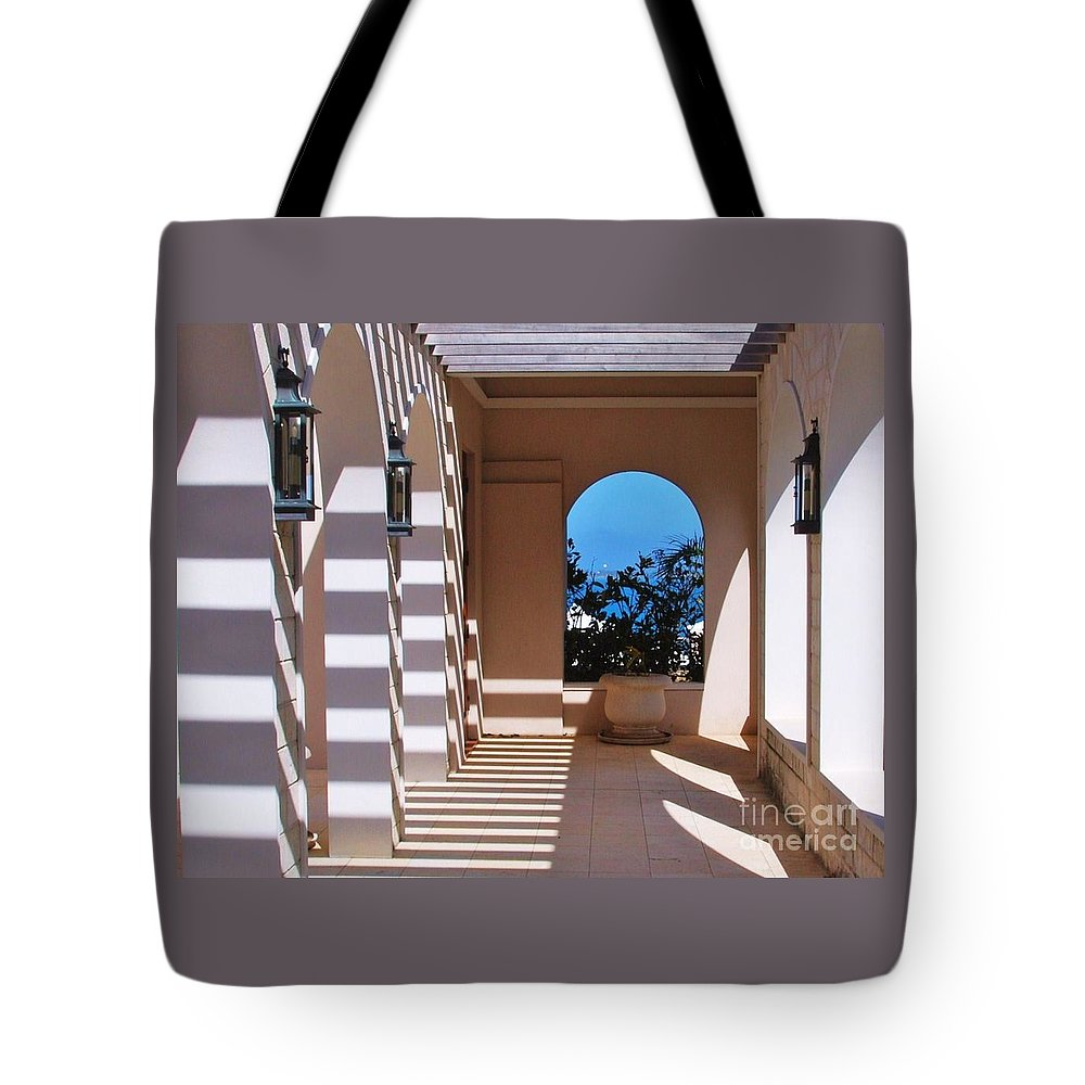 Tuckers Point Shadows Landmark Bermuda Travel Tranquil Luxury Destination Geometric Resort Archway Serene Outdoors Souvenir Unique Moment Metal Frame Canvas Print Poster Print Available On Duvet Covers Shower Curtains Greeting Cards Phone Cases Tote Bags T Shirts Pouches Weekender Tote Bags And Mugs Tote Bag featuring the photograph Shadows At Tuckers Point, Bermuda by Marcus Dagan