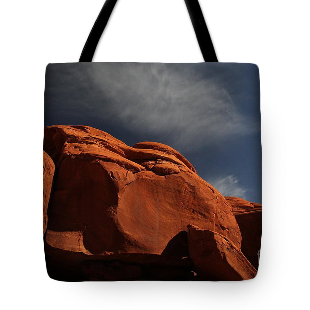 Landscape-nature-red Rocks Tote Bag featuring the photograph Shadows by Marlous Bleazard