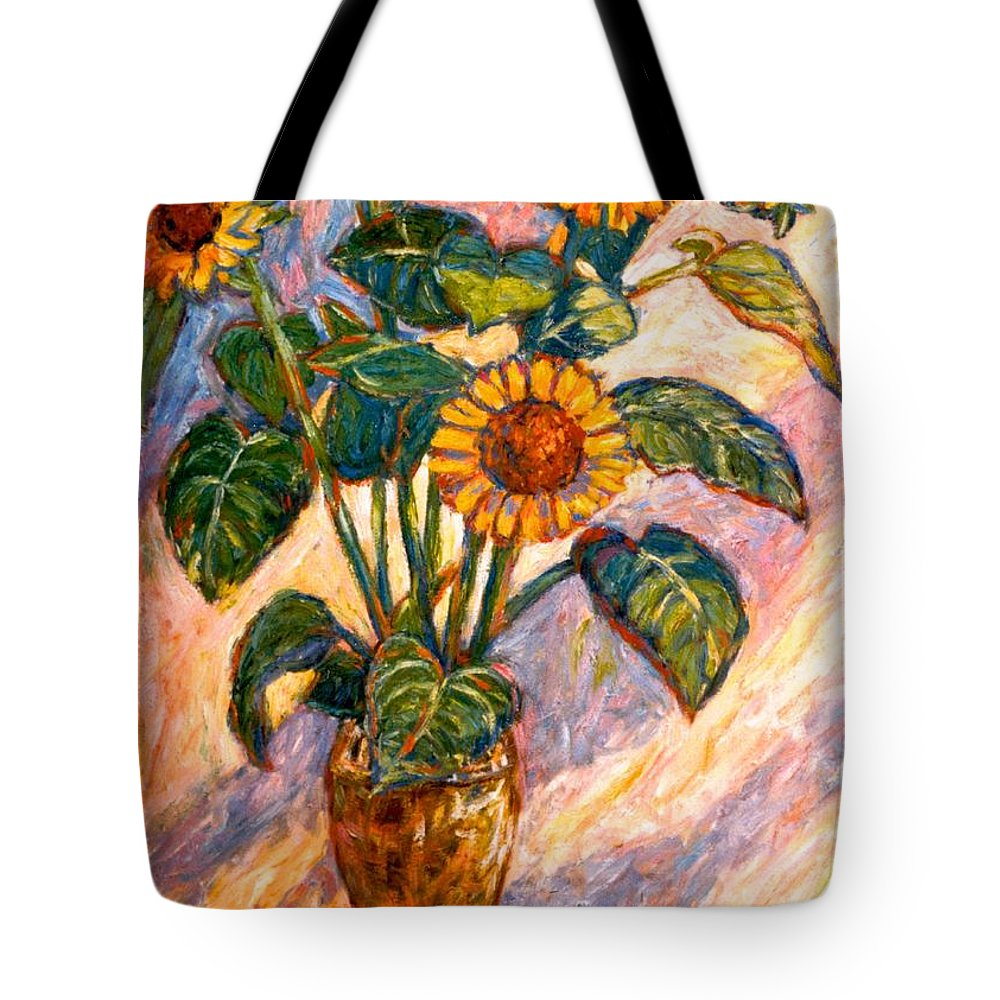 Floral Tote Bag featuring the painting Shadows On Sunflowers by Kendall Kessler
