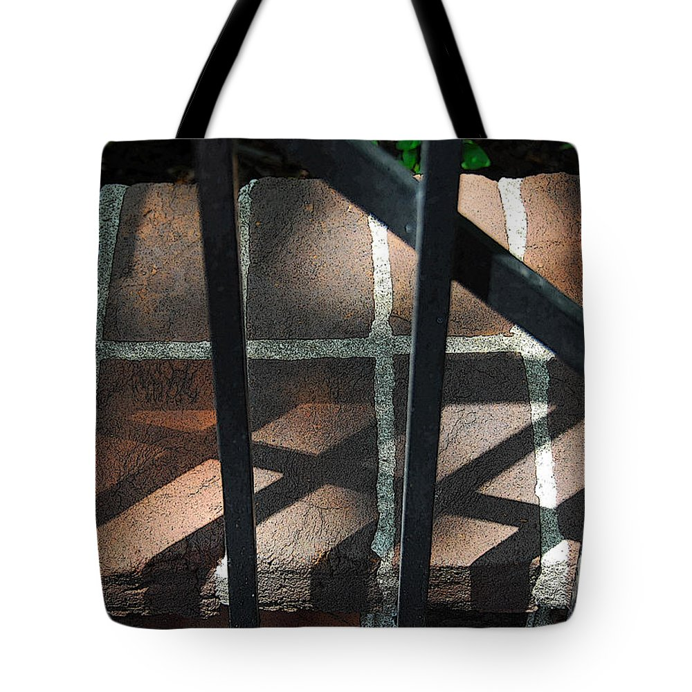 Gate Tote Bag featuring the photograph Shadows Through The Gate by Cindy Manero