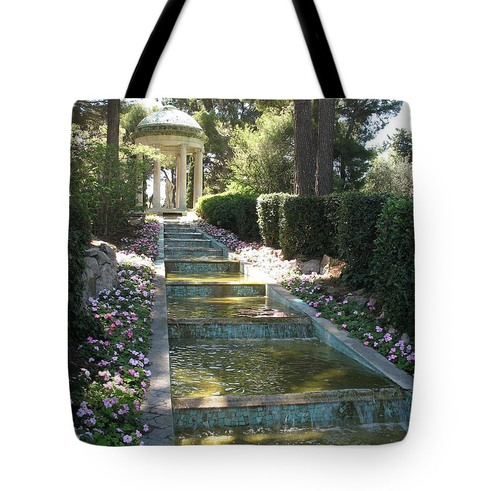 Villa Tote Bag featuring the photograph Shady Pavilion by Christiane Schulze Art And Photography