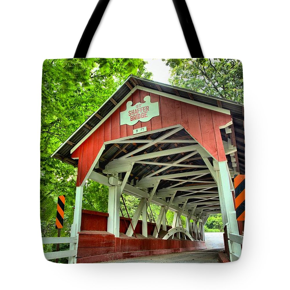 Covered Bridge Tote Bag featuring the photograph Shafer Covered Bridge by Adam Jewell