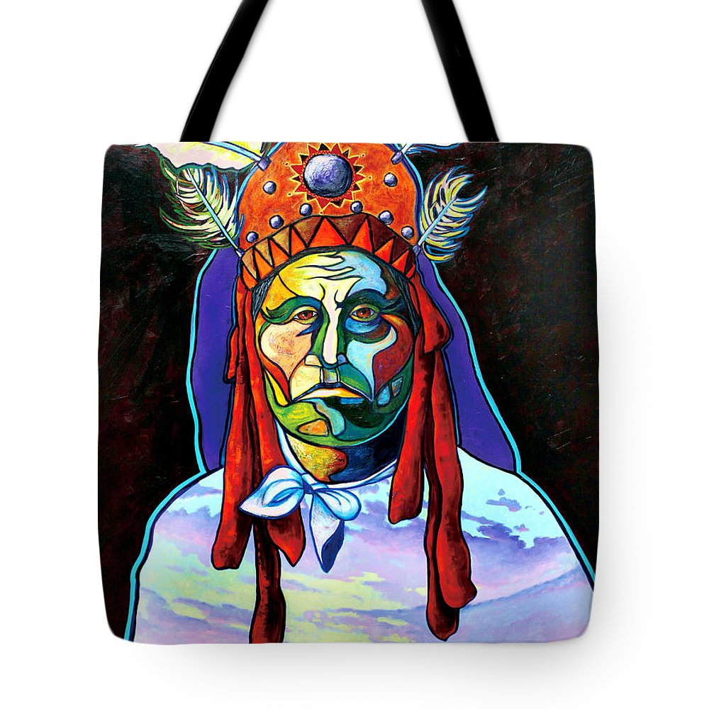 American Indian Tote Bag featuring the painting Shamans Power by Joe Triano
