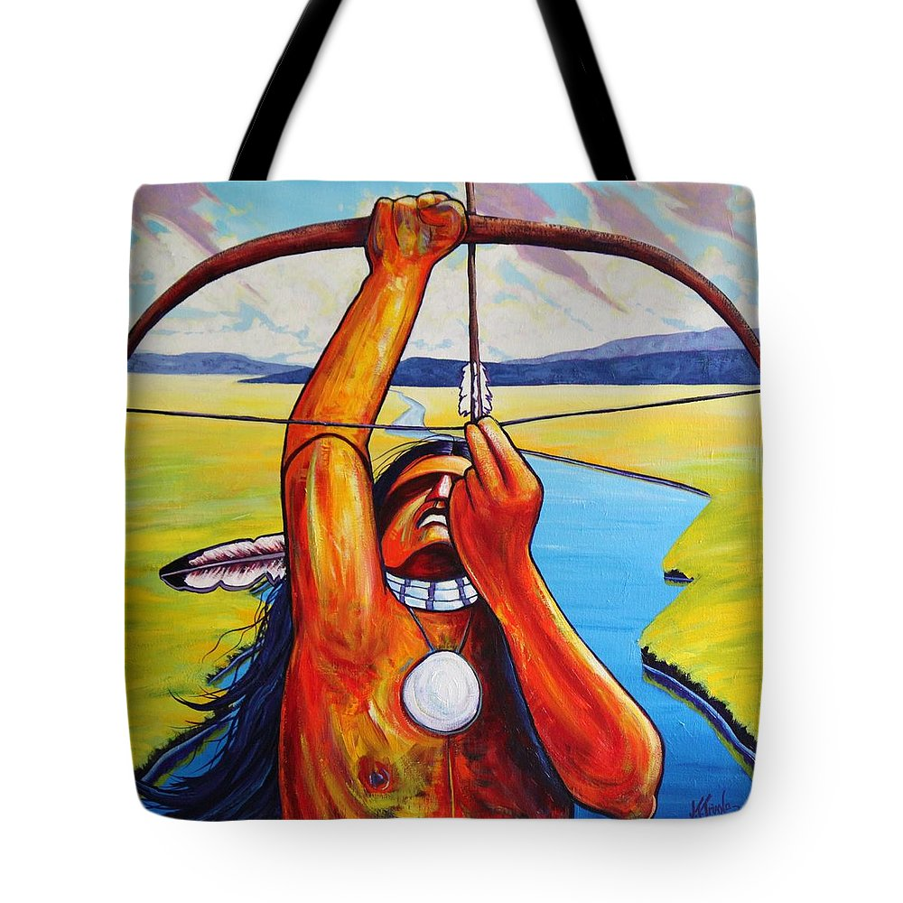 Native American Tote Bag featuring the painting Shamans Prayer by Joe Triano