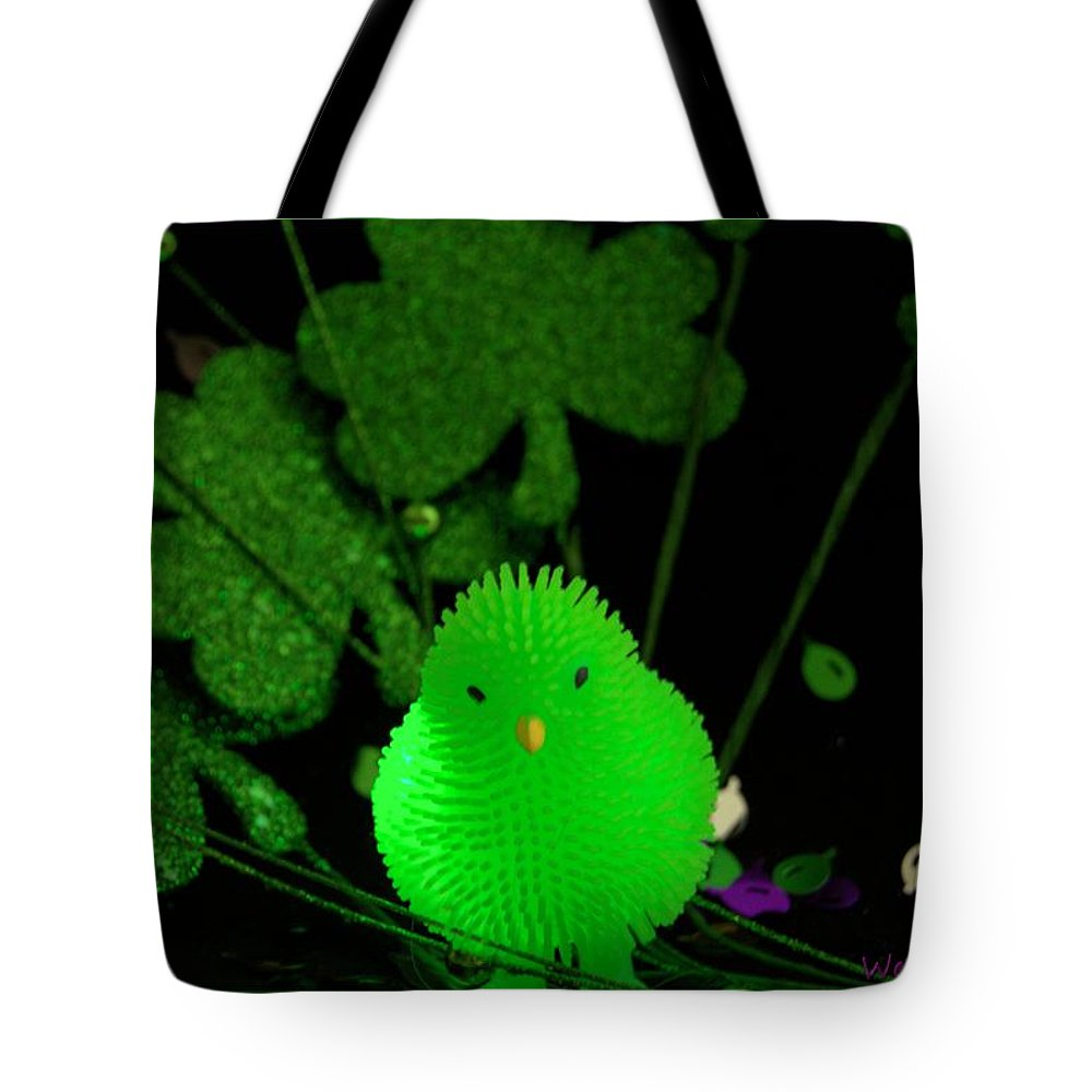 Shamrock Tote Bag featuring the photograph Shamrock Chick by Wendy Fox