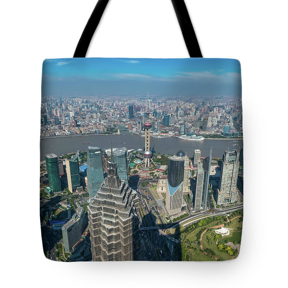 Chinese Culture Tote Bag featuring the photograph Shanghai Aerial View Over Pundong by Fotovoyager