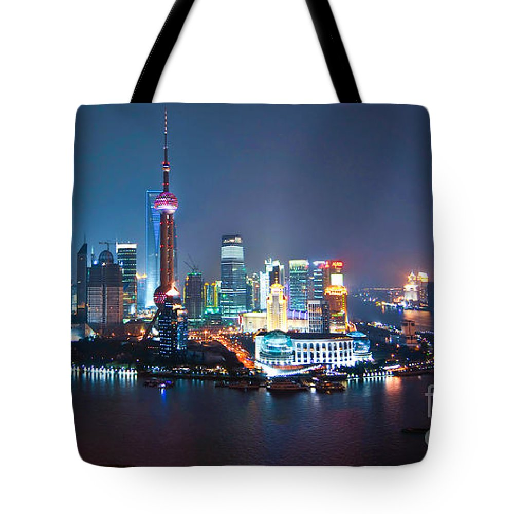 Shanghai Tote Bag featuring the photograph Shanghai Panorama by Delphimages Photo Creations