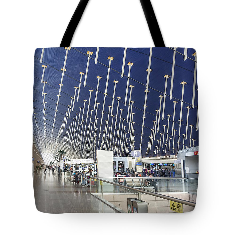 Airport Tote Bag featuring the photograph Shanghai Pudong Airport In China by Jacek Malipan