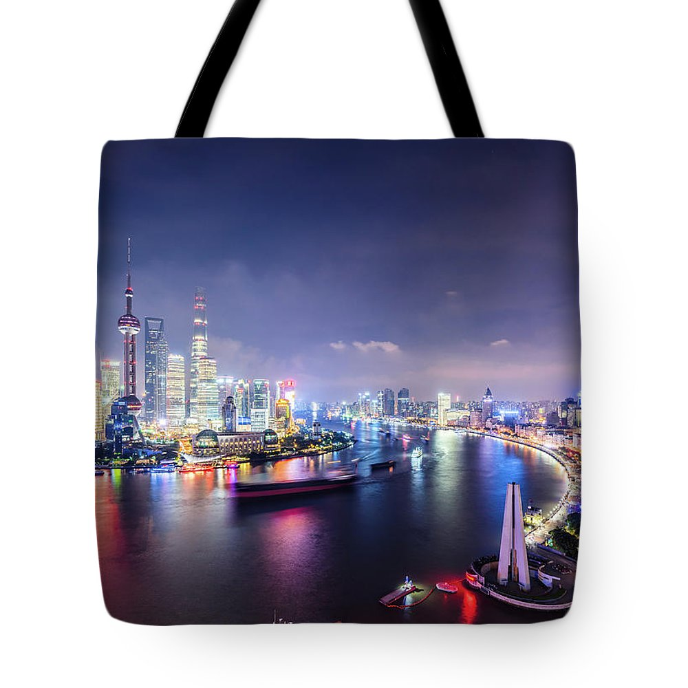 Downtown District Tote Bag featuring the photograph Shanghai Skyline At Night by Yongyuan Dai