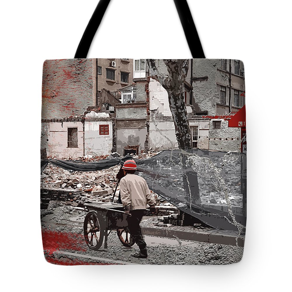 Shanghai Tote Bag featuring the photograph Shanghai Street Creation by Delphimages Photo Creations