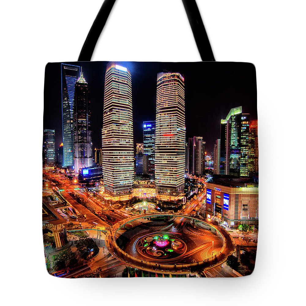Financial District Tote Bag featuring the photograph Shanghais Financial City Center by Mimo Khair Photography