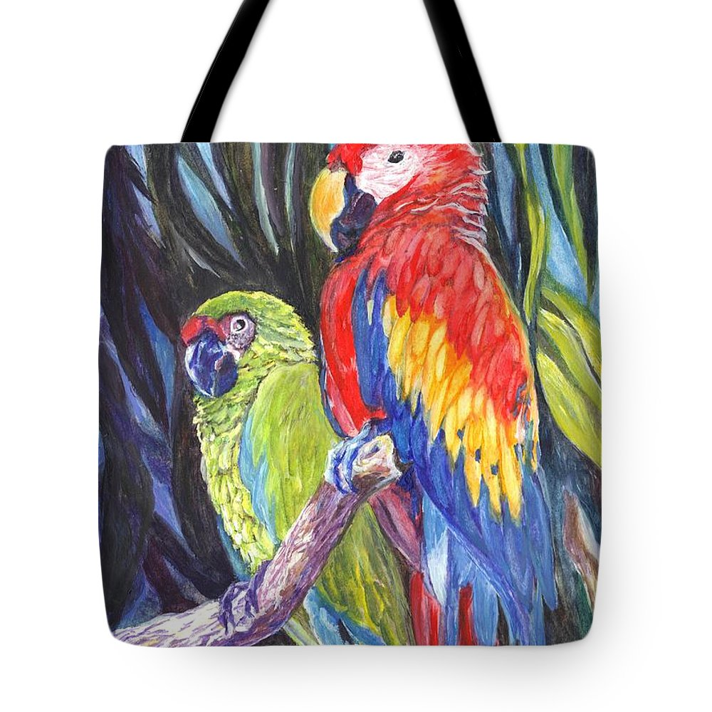 Macaws Tote Bag featuring the painting We Are Sharing A Perch by Carol Wisniewski