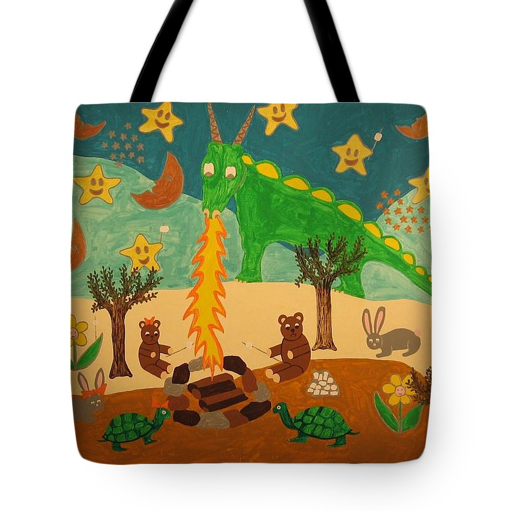 Dragon Tote Bag featuring the painting Sharing by Erika Chamberlin