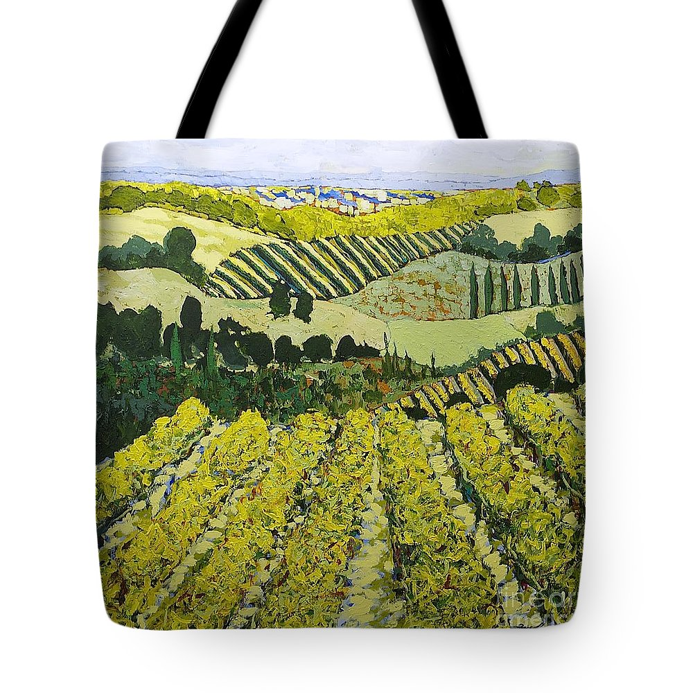 Landscape Tote Bag featuring the painting Sharing The Discovery by Allan P Friedlander
