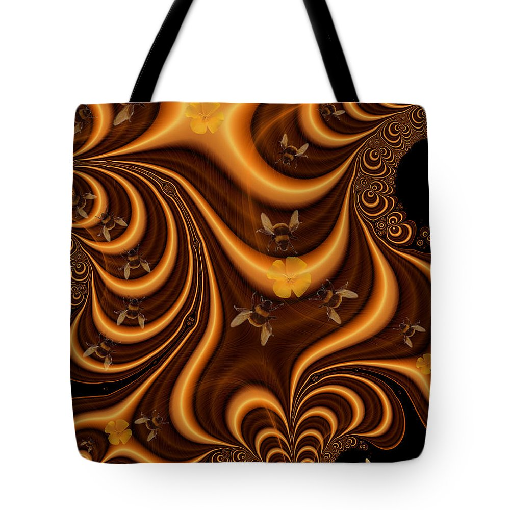 Bees Tote Bag featuring the digital art Sharing The Wealth by Maria Watt