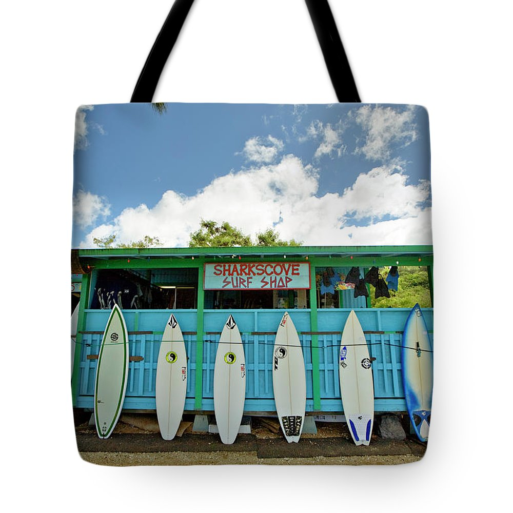 People Tote Bag featuring the photograph Sharks Cove Surf Shop With New by Merten Snijders