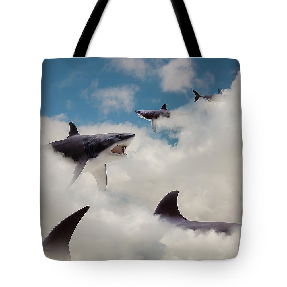 Risk Tote Bag featuring the photograph Sharks Floating In Clouds by John M Lund Photography Inc